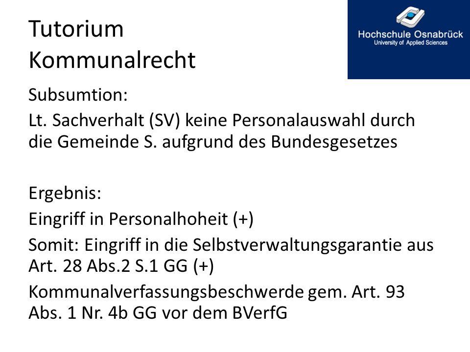 Tutorium Kommunalrecht-Mitwirkungsverbot Ergebnis: Voraussetzungen des § 41 Abs.