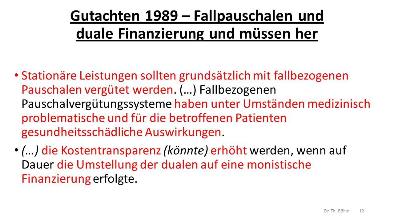 Gutachten 1989 – Fallpauschalen und duale Finanzierung und müssen her Stationäre Leistungen sollten grundsätzlich mit fallbezogenen Pauschalen vergütet werden.