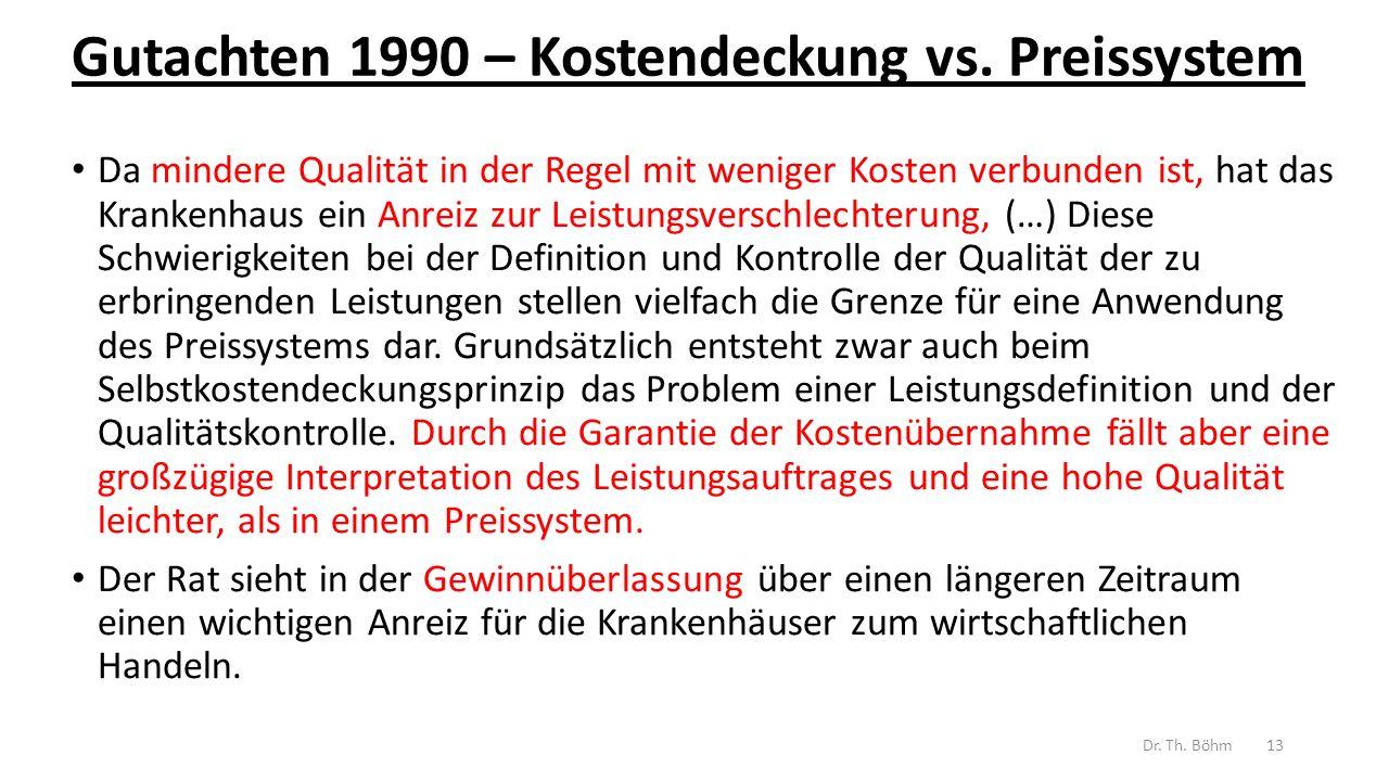 Gutachten 1990 – Kostendeckung vs.
