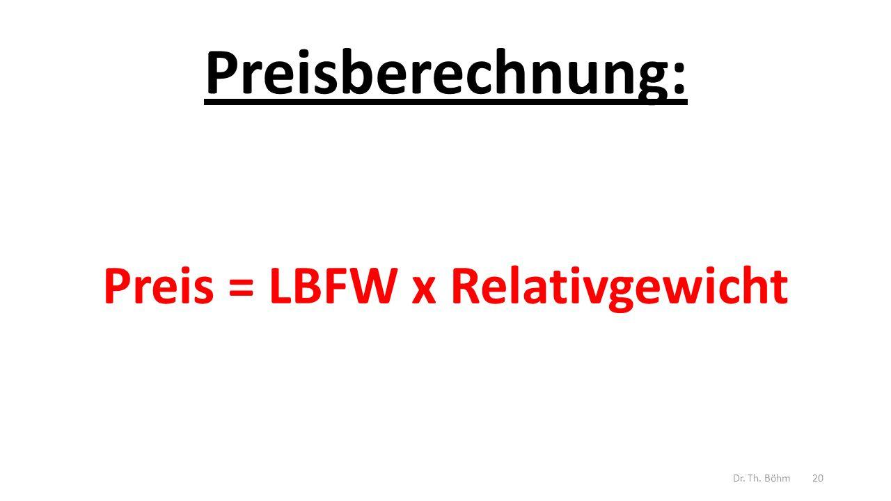 Preisberechnung: Preis = LBFW x Relativgewicht Dr. Th. Böhm20