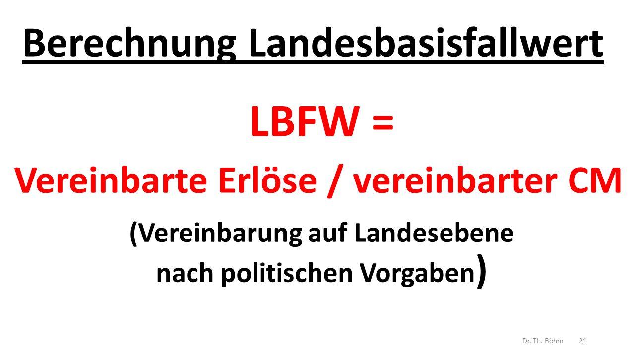 Berechnung Landesbasisfallwert LBFW = Vereinbarte Erlöse / vereinbarter CM (Vereinbarung auf Landesebene nach politischen Vorgaben ) Dr.
