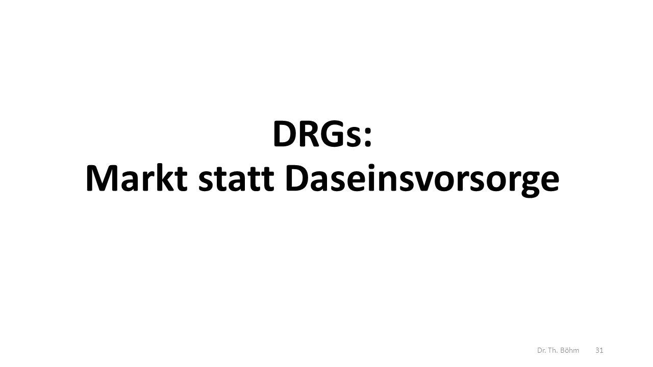 DRGs: Markt statt Daseinsvorsorge Dr. Th. Böhm31