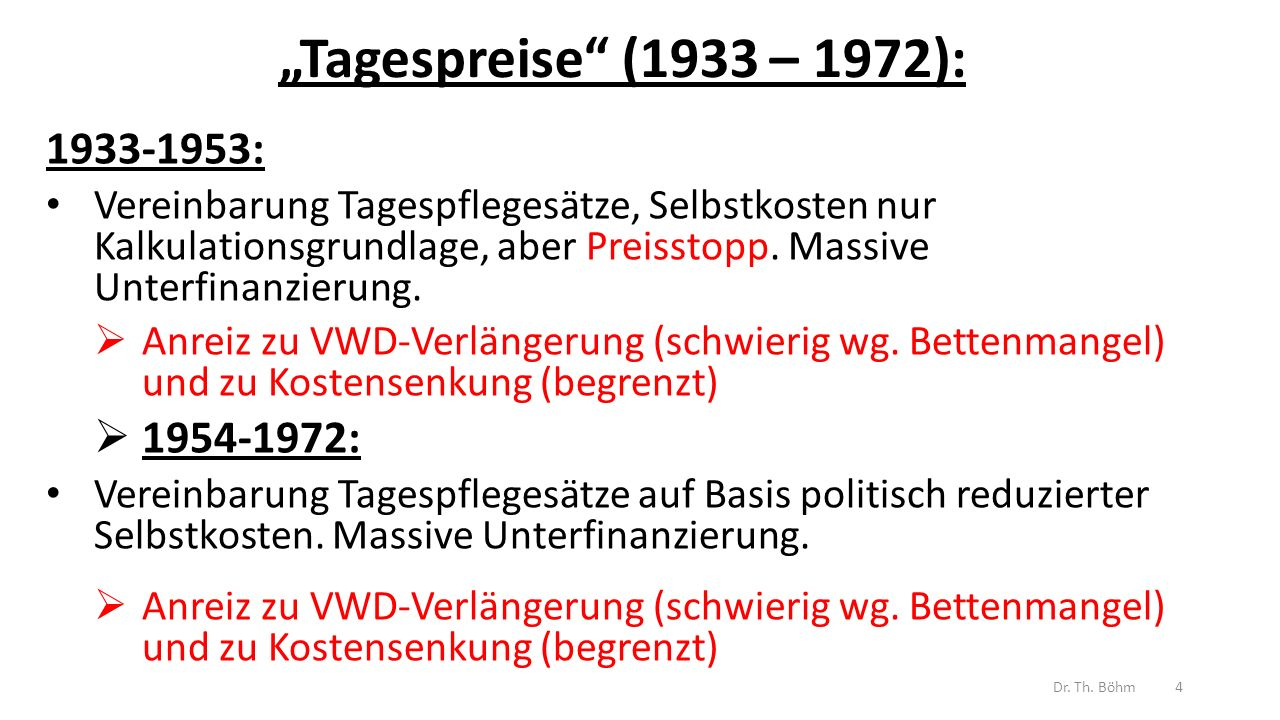 Echte Selbstkostendeckung (1973 – 1985): (Grundgesetzänderung, duale Finanzierung) Vereinbarung der Selbstkosten eines wirtschaftlichen und leistungsfähigen Krankenhauses auf Basis KLR keine Gewinne und Verluste Pflegesätze als Abschlagszahlung auf Selbstkosten mit Ausgleich  Kein Anreiz zu VWD-Verlängerung und zu Kostensenkung wg.