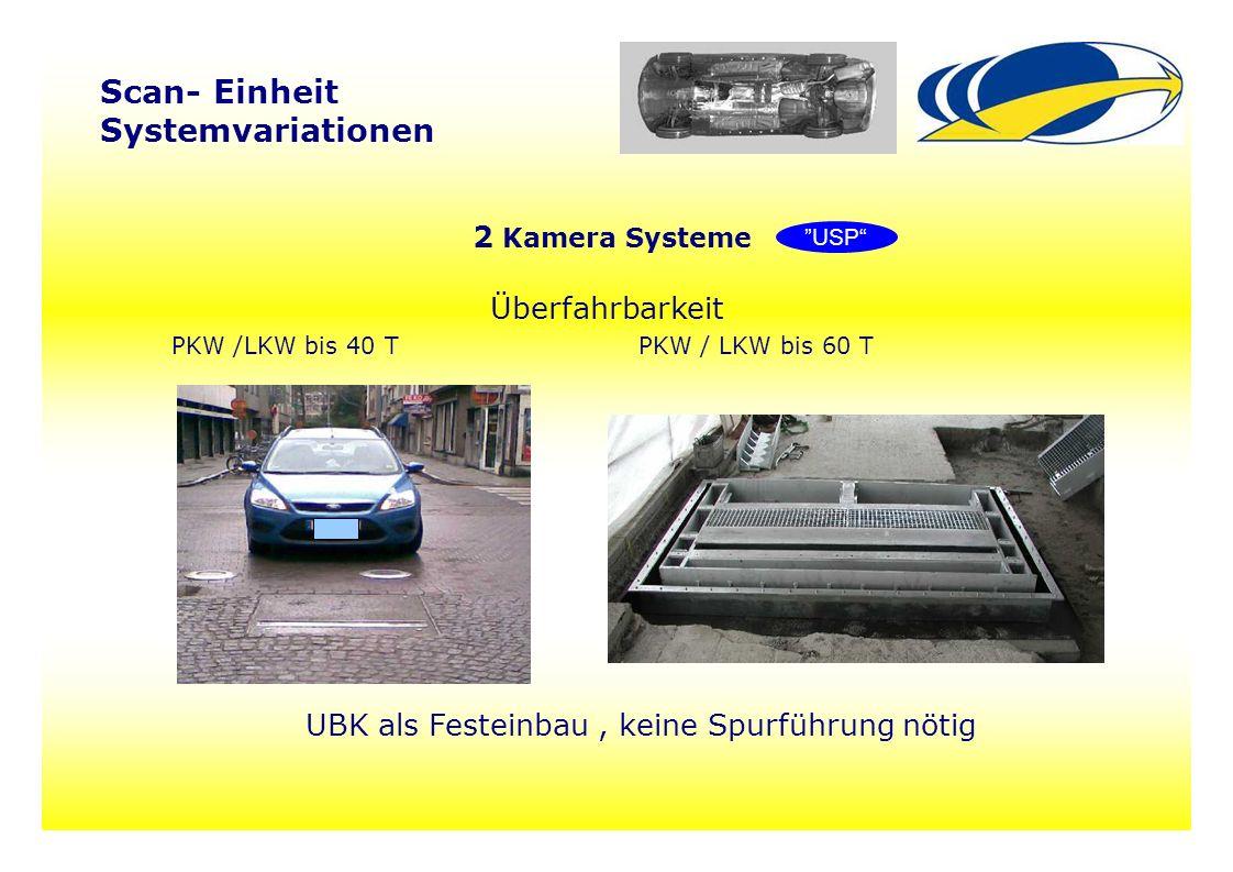 10 Scan- Einheit Systemvariationen 2 Kamera Systeme Überfahrbarkeit PKW /LKW bis 40 TPKW / LKW bis 60 T UBK als Festeinbau, keine Spurführung nötig USP