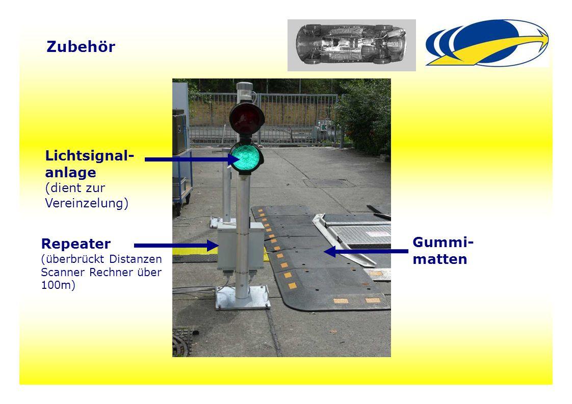14 Zubehör Gummi- matten Repeater (überbrückt Distanzen Scanner Rechner über 100m) Lichtsignal- anlage (dient zur Vereinzelung)
