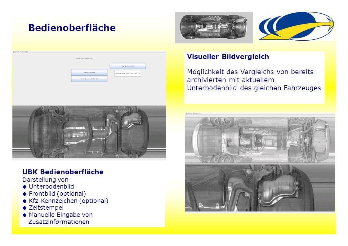 15 Visueller Bildvergleich Möglichkeit des Vergleichs von bereits archivierten mit aktuellem Unterbodenbild des gleichen Fahrzeuges UBK Bedienoberfläc