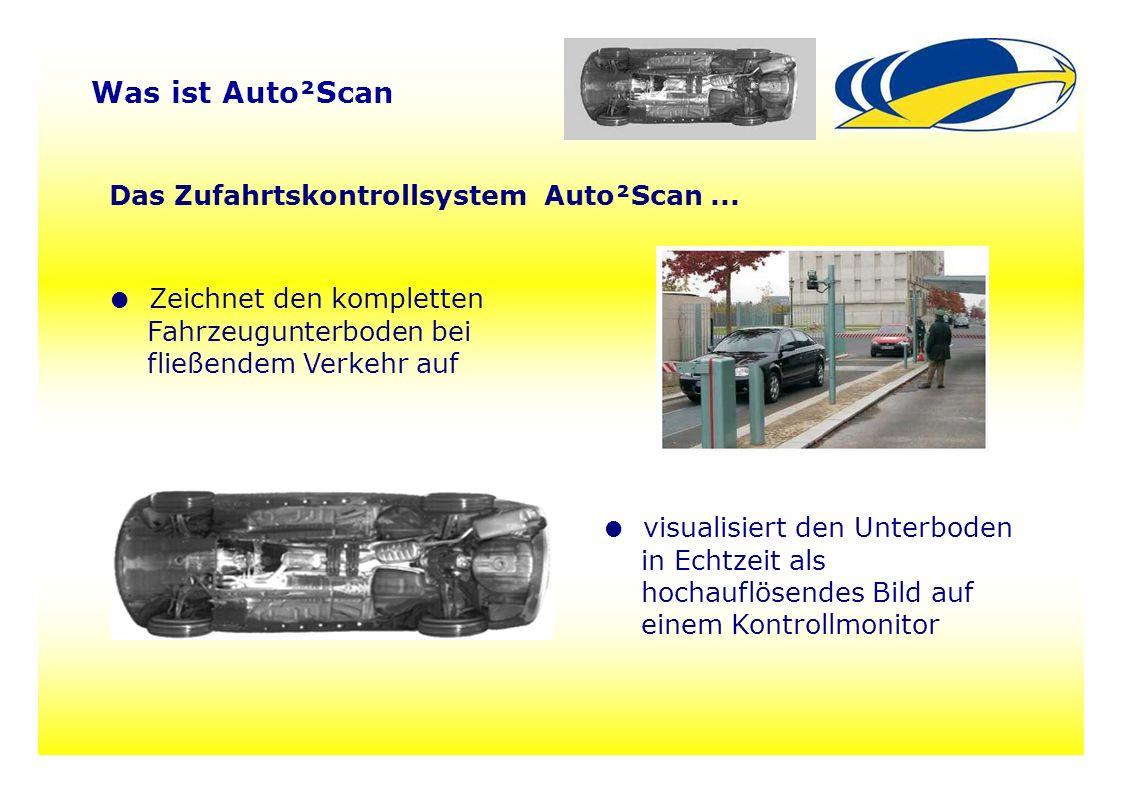 22 Was ist Auto²Scan Das Zufahrtskontrollsystem Auto²Scan... ● Zeichnet den kompletten Fahrzeugunterboden bei fließendem Verkehr auf ● visualisiert de