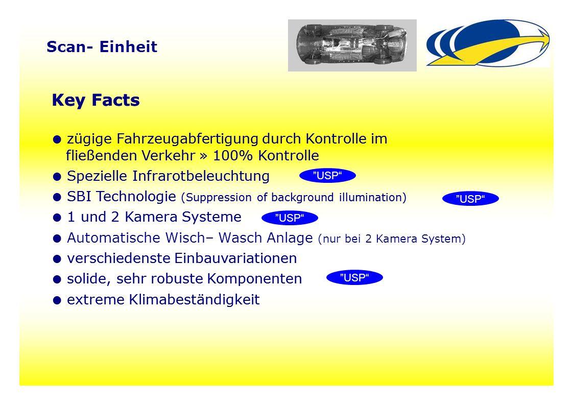 77 Scan- Einheit Key Facts ● zügige Fahrzeugabfertigung durch Kontrolle im fließenden Verkehr » 100% Kontrolle ● Spezielle Infrarotbeleuchtung ● SBI T