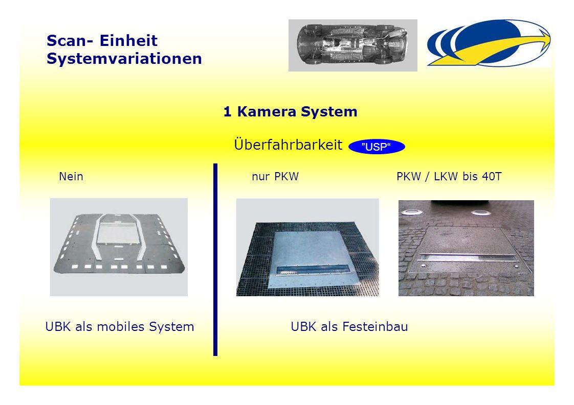 """99 Scan- Einheit Systemvariationen 1 Kamera System Überfahrbarkeit Nein nur PKWPKW / LKW bis 40T UBK als mobiles SystemUBK als Festeinbau """"USP"""""""
