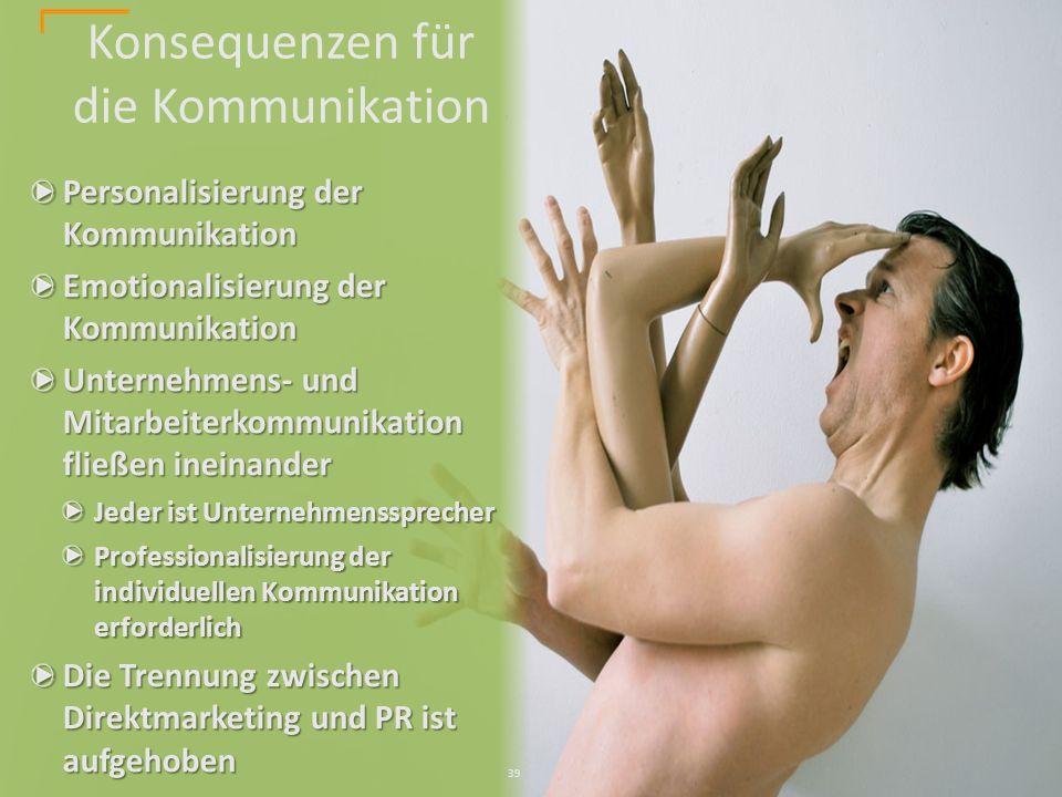 Personalisierung der Kommunikation Emotionalisierung der Kommunikation Unternehmens- und Mitarbeiterkommunikation fließen ineinander Jeder ist Unternehmenssprecher Professionalisierung der individuellen Kommunikation erforderlich Die Trennung zwischen Direktmarketing und PR ist aufgehoben Konsequenzen für die Kommunikation 39