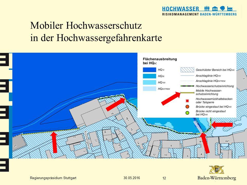 Regierungspräsidium Stuttgart Mobiler Hochwasserschutz in der Hochwassergefahrenkarte 30.05.2016 12