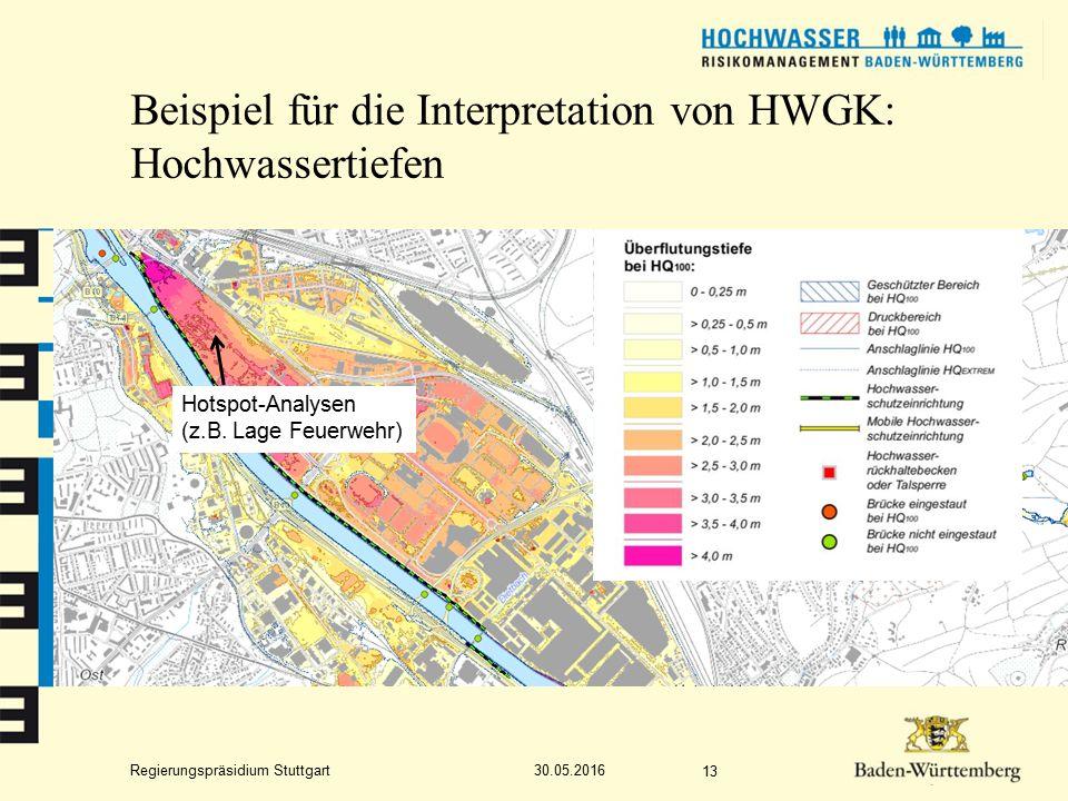 Regierungspräsidium Stuttgart Beispiel für die Interpretation von HWGK: Hochwassertiefen 30.05.2016 13 Hotspot-Analysen (z.B.