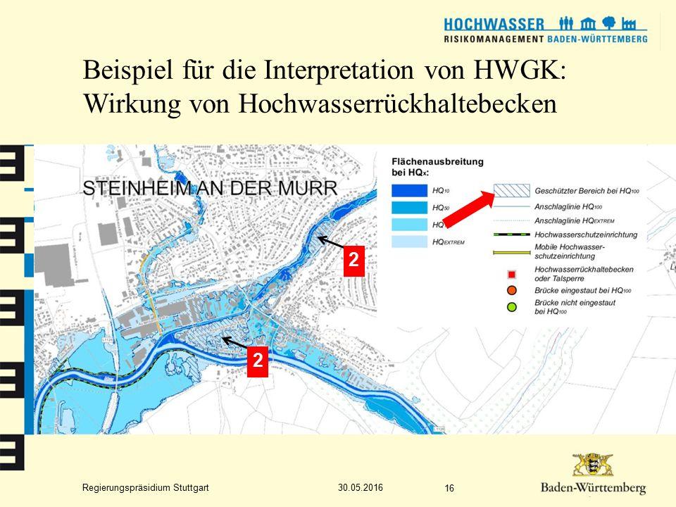 Regierungspräsidium Stuttgart Beispiel für die Interpretation von HWGK: Wirkung von Hochwasserrückhaltebecken 30.05.2016 16 1 2 2