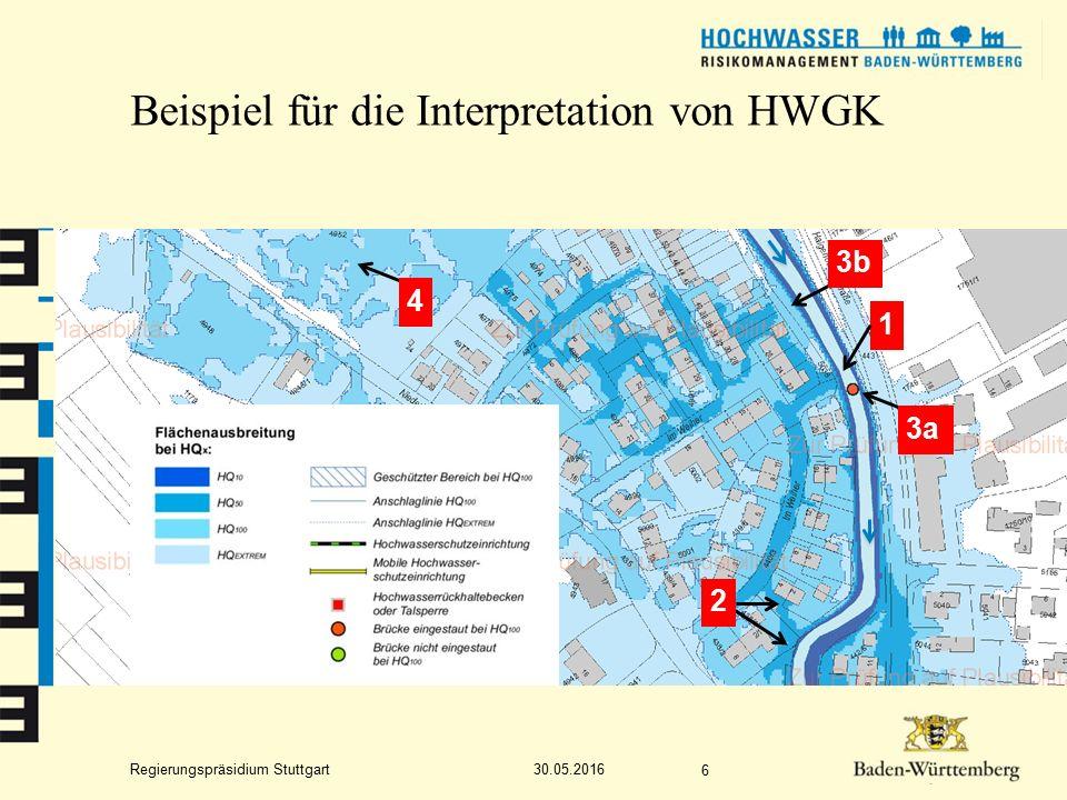 Regierungspräsidium Stuttgart Beispiel für die Interpretation von HWGK 30.05.2016 6 1 3a 2 4 3b