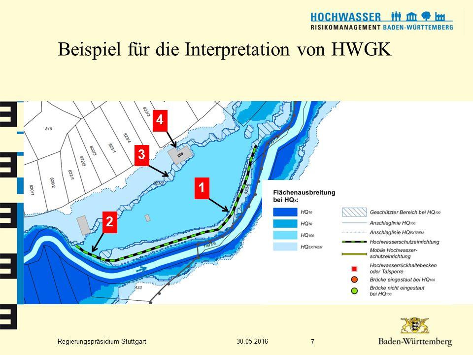 Regierungspräsidium Stuttgart Beispiel für die Interpretation von HWGK 30.05.2016 7 1 3 2 4