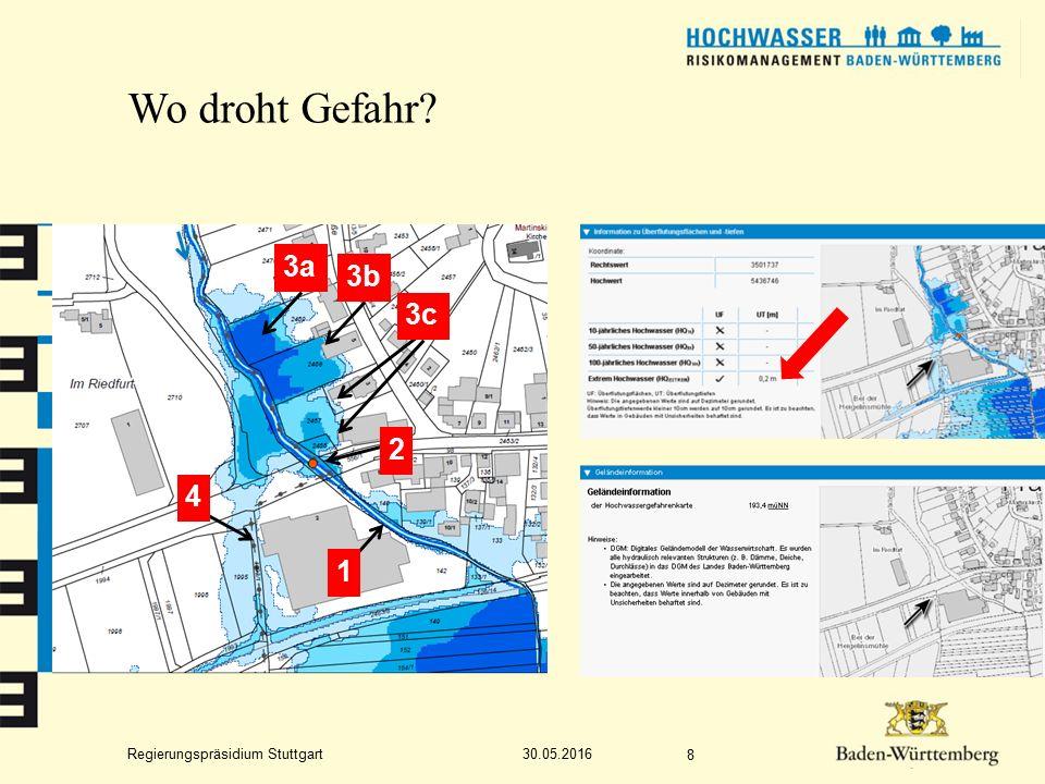 Regierungspräsidium Stuttgart Wo droht Gefahr? 30.05.2016 8 1 4 2 3a 3b 3c