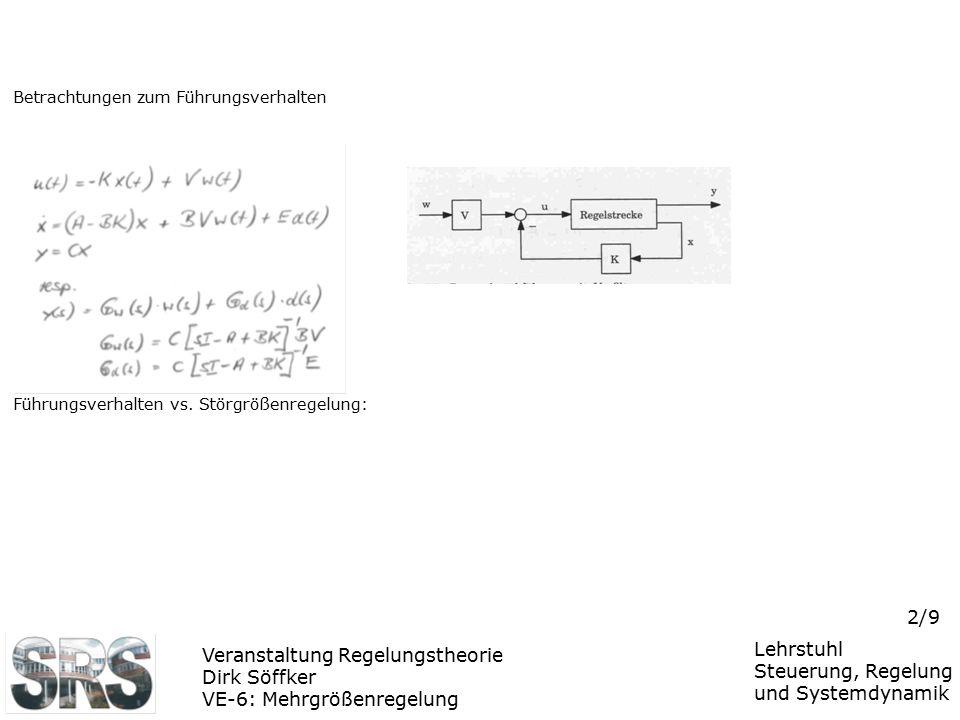 Veranstaltung Regelungstheorie Dirk Söffker VE-6: Mehrgrößenregelung Lehrstuhl Steuerung, Regelung und Systemdynamik 2/9 Betrachtungen zum Führungsver