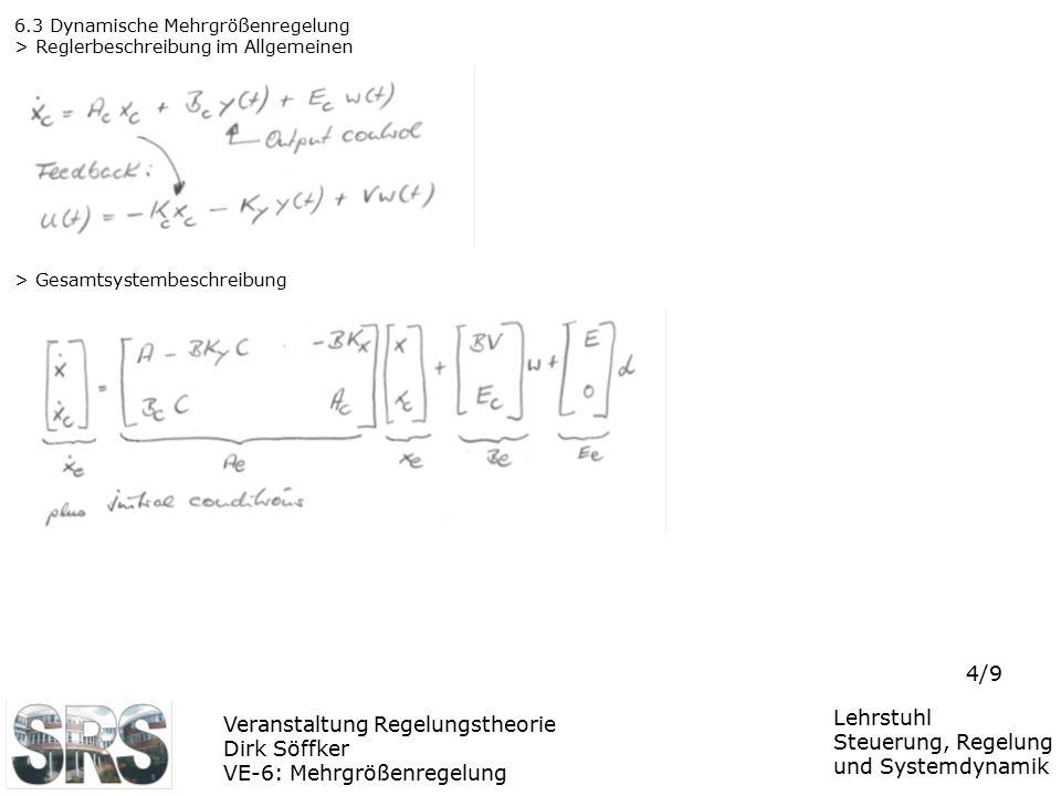 Veranstaltung Regelungstheorie Dirk Söffker VE-6: Mehrgrößenregelung Lehrstuhl Steuerung, Regelung und Systemdynamik 4/9 6.3 Dynamische Mehrgrößenrege