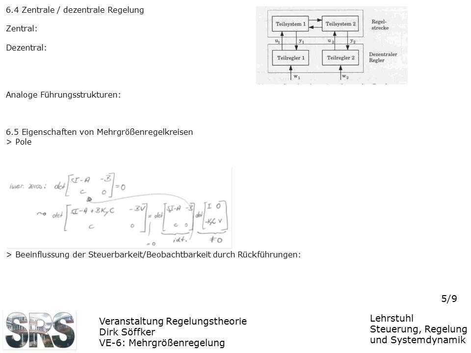 Veranstaltung Regelungstheorie Dirk Söffker VE-6: Mehrgrößenregelung Lehrstuhl Steuerung, Regelung und Systemdynamik 5/9 6.4 Zentrale / dezentrale Reg