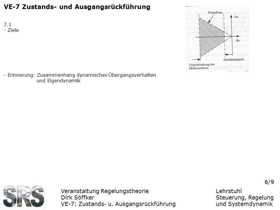 Veranstaltung Regelungstheorie Dirk Söffker VE-7: Zustands- u. Ausgangsrückführung Lehrstuhl Steuerung, Regelung und Systemdynamik 6/9 VE-7 Zustands-