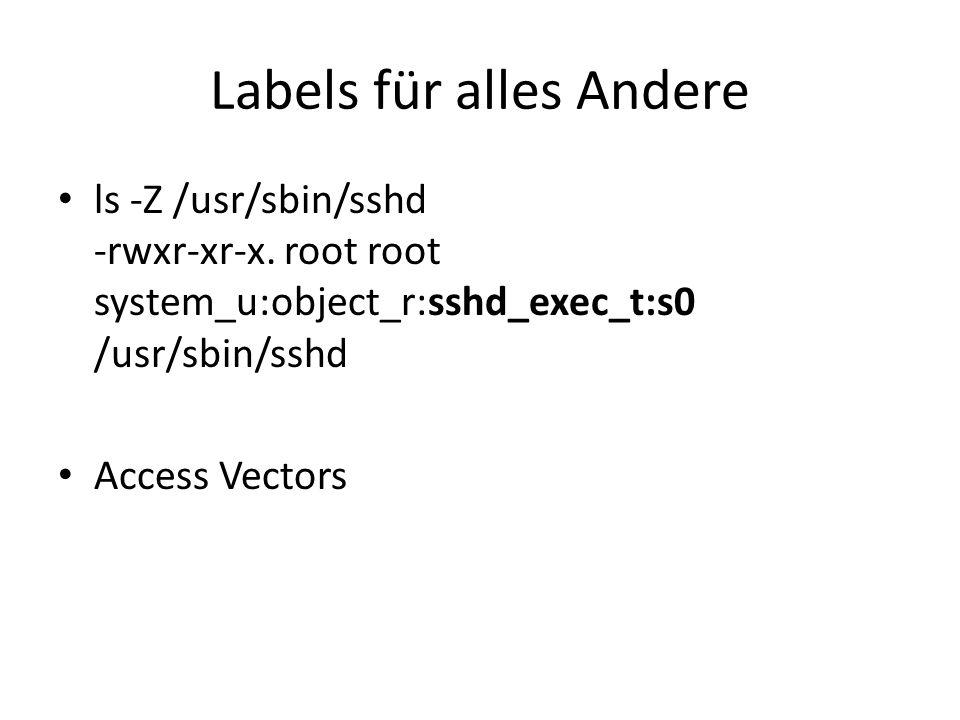 Labels für alles Andere ls -Z /usr/sbin/sshd -rwxr-xr-x.