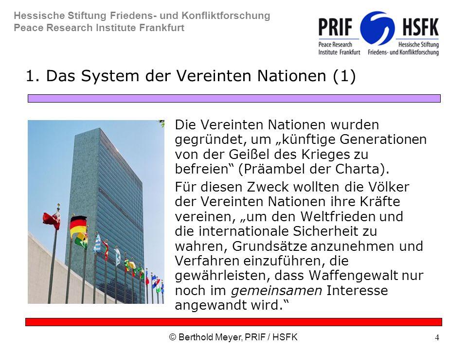 Hessische Stiftung Friedens- und Konfliktforschung Peace Research Institute Frankfurt © Berthold Meyer, PRIF / HSFK4 1.