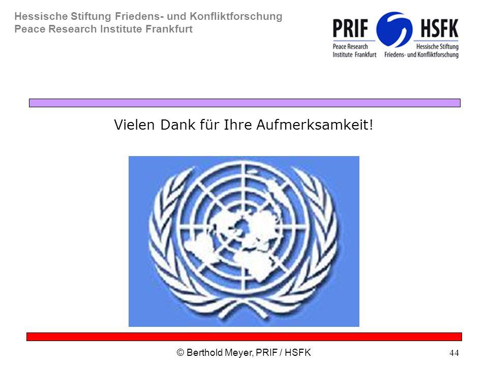 Hessische Stiftung Friedens- und Konfliktforschung Peace Research Institute Frankfurt © Berthold Meyer, PRIF / HSFK44 Vielen Dank für Ihre Aufmerksamkeit!