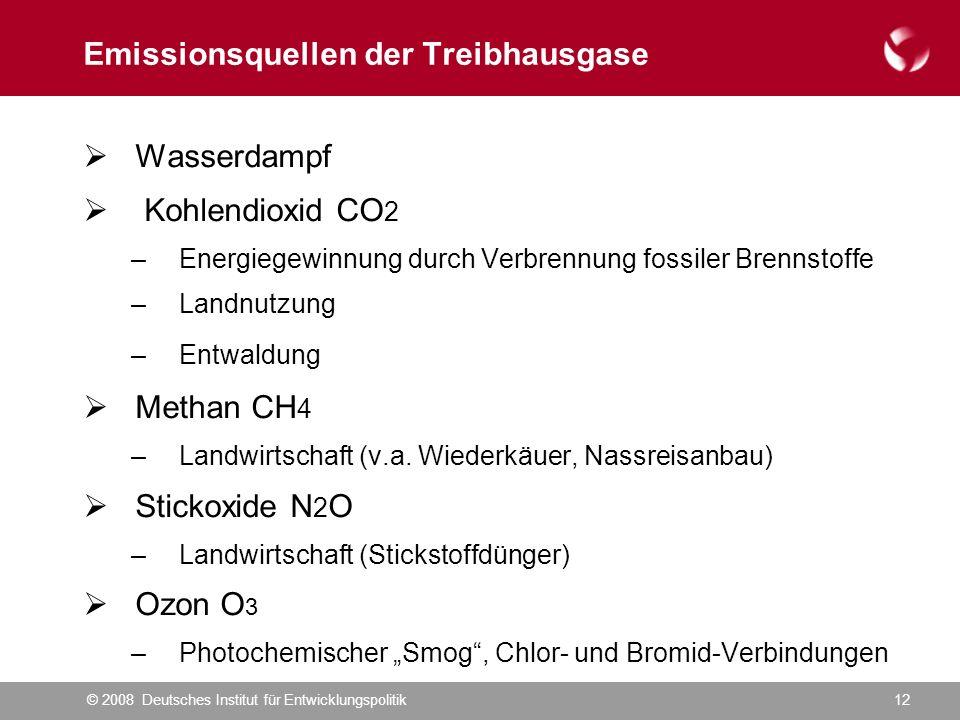 © 2008 Deutsches Institut für Entwicklungspolitik12 Emissionsquellen der Treibhausgase  Wasserdampf  Kohlendioxid CO 2 –Energiegewinnung durch Verbrennung fossiler Brennstoffe –Landnutzung –Entwaldung  Methan CH 4 –Landwirtschaft (v.a.