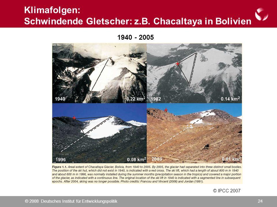 © 2008 Deutsches Institut für Entwicklungspolitik24 Klimafolgen: Schwindende Gletscher: z.B.