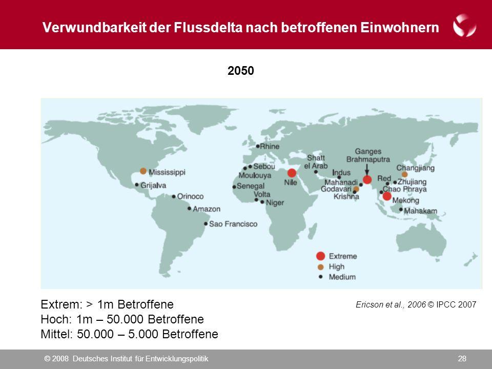 © 2008 Deutsches Institut für Entwicklungspolitik28 Verwundbarkeit der Flussdelta nach betroffenen Einwohnern Ericson et al., 2006 © IPCC 2007 2050 Extrem: > 1m Betroffene Hoch: 1m – 50.000 Betroffene Mittel: 50.000 – 5.000 Betroffene