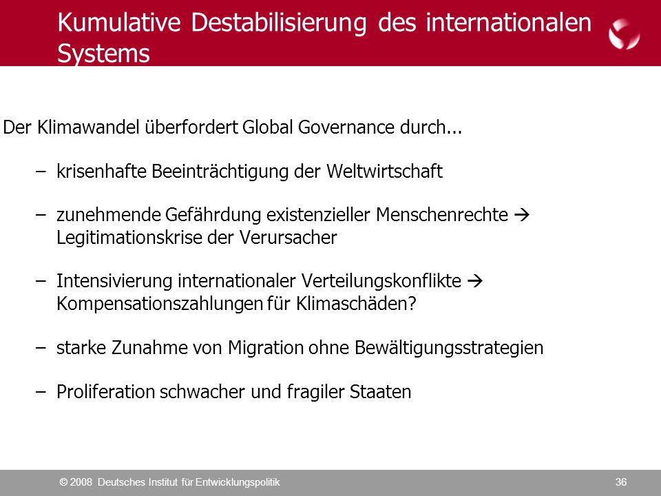 © 2008 Deutsches Institut für Entwicklungspolitik36 Kumulative Destabilisierung des internationalen Systems Der Klimawandel überfordert Global Governance durch...