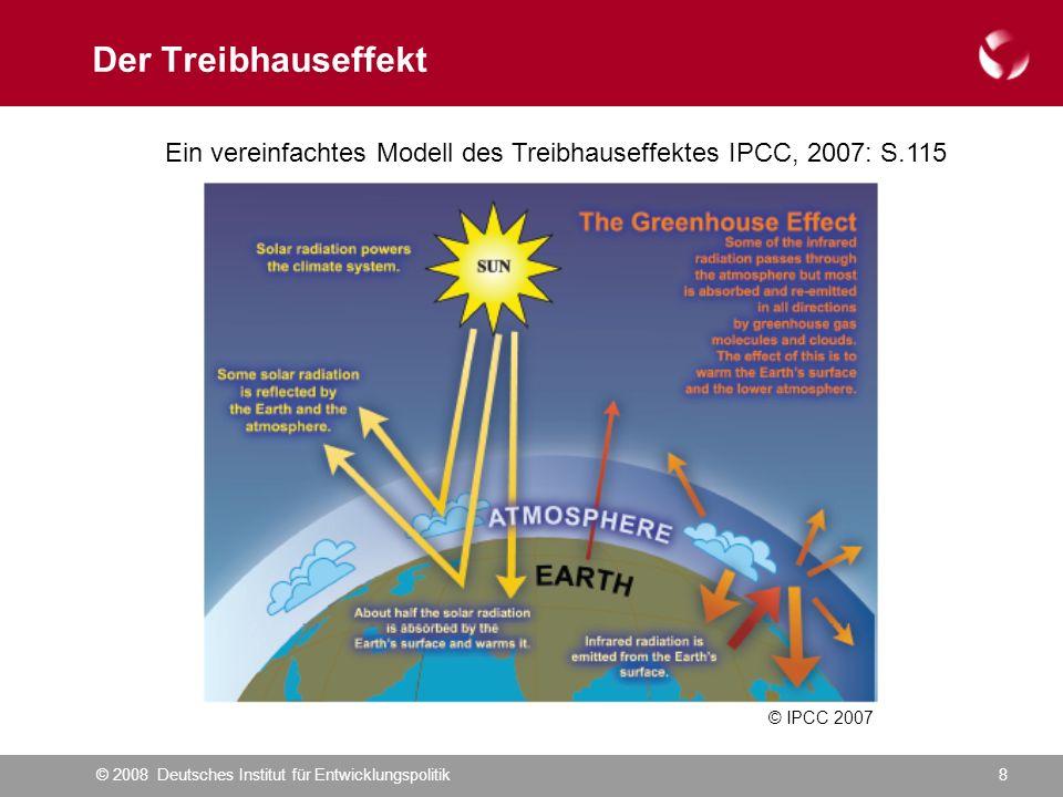 © 2008 Deutsches Institut für Entwicklungspolitik8 Der Treibhauseffekt Ein vereinfachtes Modell des Treibhauseffektes IPCC, 2007: S.115 © IPCC 2007