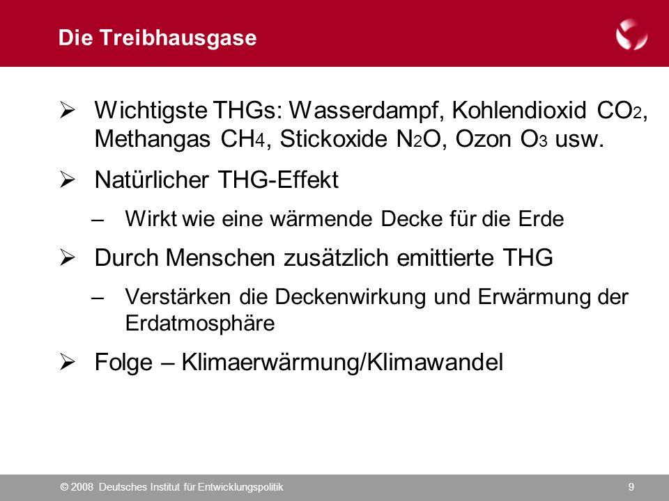 © 2008 Deutsches Institut für Entwicklungspolitik9 Die Treibhausgase  Wichtigste THGs: Wasserdampf, Kohlendioxid CO 2, Methangas CH 4, Stickoxide N 2 O, Ozon O 3 usw.