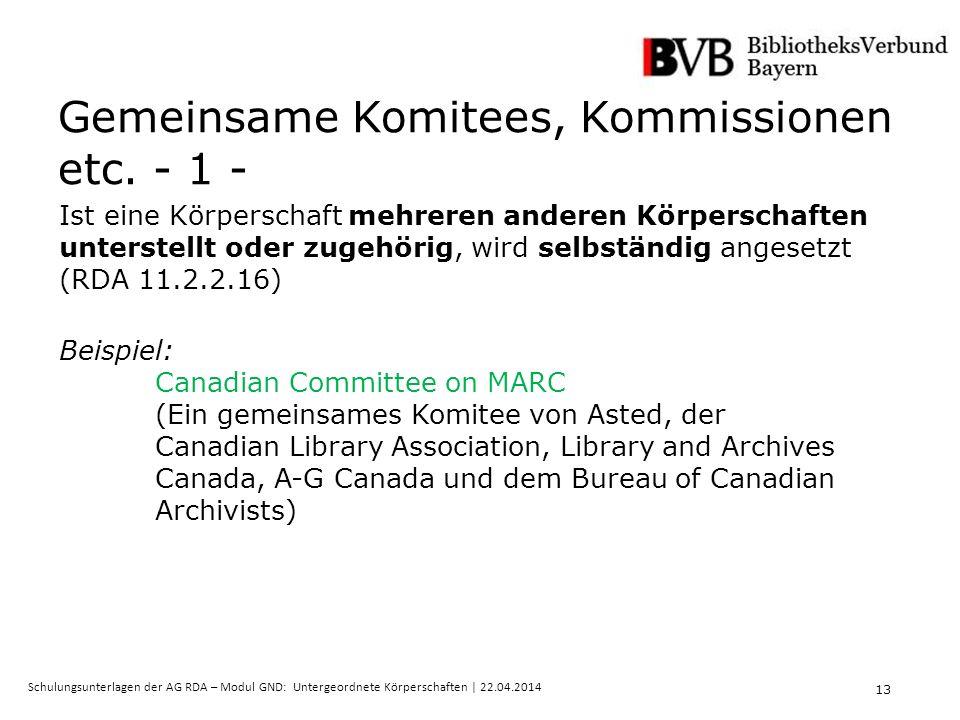 13 Schulungsunterlagen der AG RDA – Modul GND: Untergeordnete Körperschaften | 22.04.2014 Gemeinsame Komitees, Kommissionen etc.