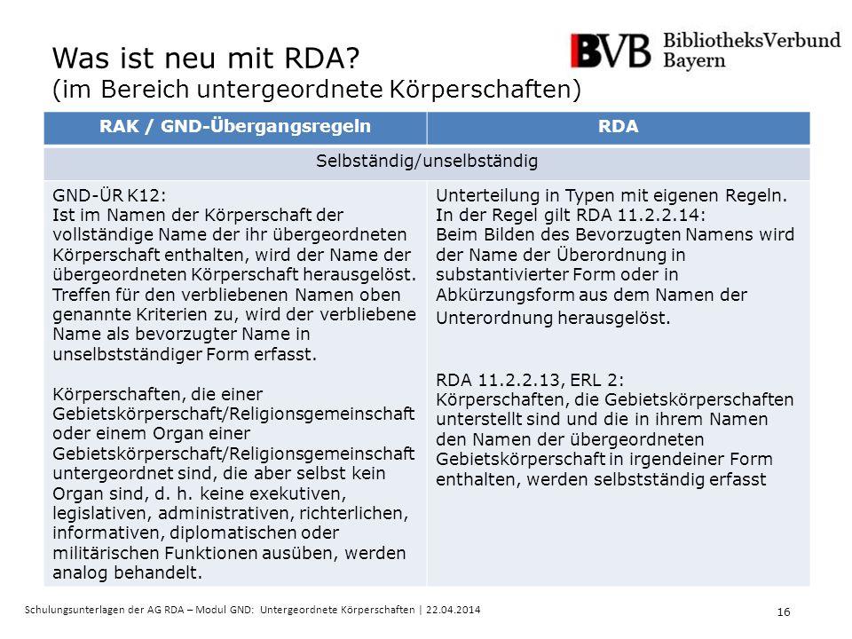 16 Schulungsunterlagen der AG RDA – Modul GND: Untergeordnete Körperschaften | 22.04.2014 Was ist neu mit RDA.
