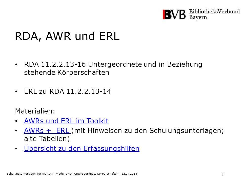 3 Schulungsunterlagen der AG RDA – Modul GND: Untergeordnete Körperschaften | 22.04.2014 RDA, AWR und ERL RDA 11.2.2.13-16 Untergeordnete und in Beziehung stehende Körperschaften ERL zu RDA 11.2.2.13-14 Materialien: AWRs und ERL im Toolkit AWRs + ERL (mit Hinweisen zu den Schulungsunterlagen; alte Tabellen) AWRs + ERL Übersicht zu den Erfassungshilfen