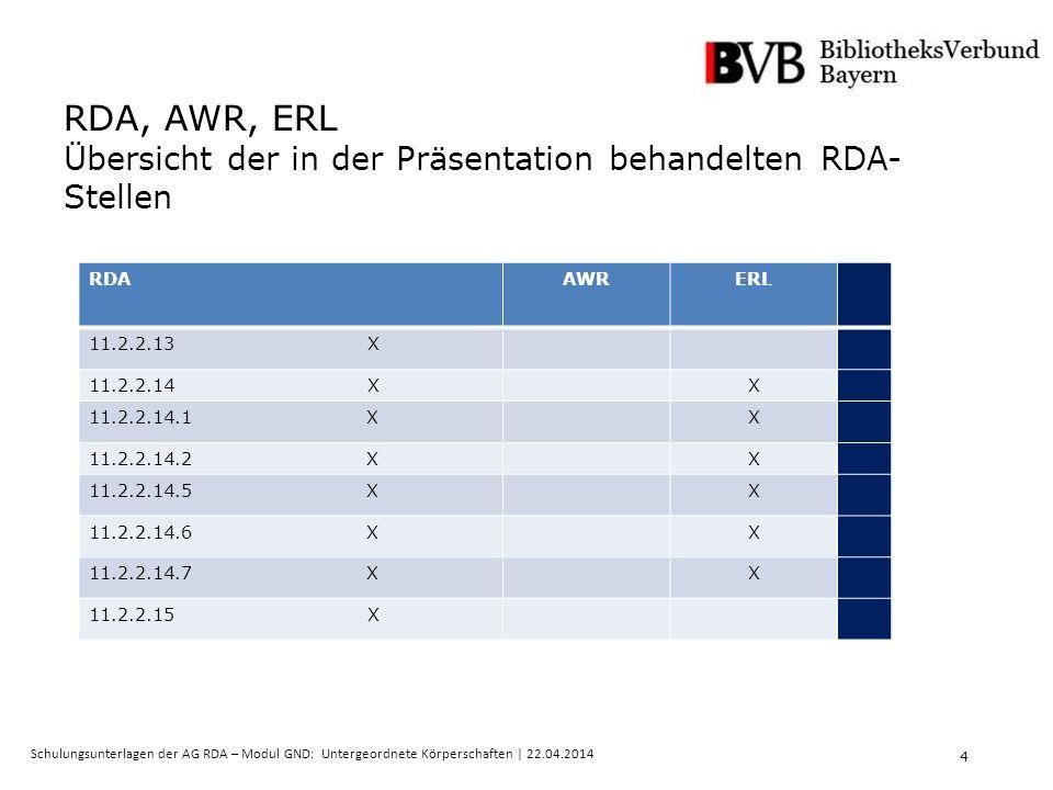 4 Schulungsunterlagen der AG RDA – Modul GND: Untergeordnete Körperschaften | 22.04.2014 RDA, AWR, ERL Übersicht der in der Präsentation behandelten RDA- Stellen RDAAWRERL 11.2.2.13 X 11.2.2.14 XX 11.2.2.14.1 XX 11.2.2.14.2 XX 11.2.2.14.5 XX 11.2.2.14.6 XX 11.2.2.14.7 XX 11.2.2.15 X