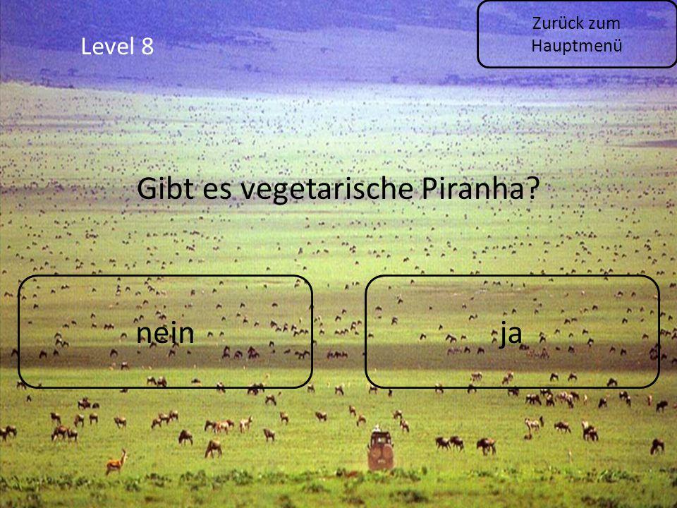 Level 8 Zurück zum Hauptmenü neinja Gibt es vegetarische Piranha?