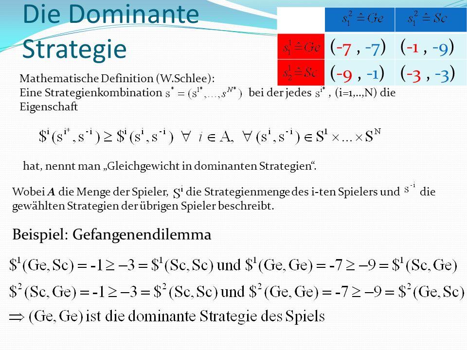 Wobei A die Menge der Spieler, die Strategienmenge des i-ten Spielers und die gewählten Strategien der übrigen Spieler beschreibt.