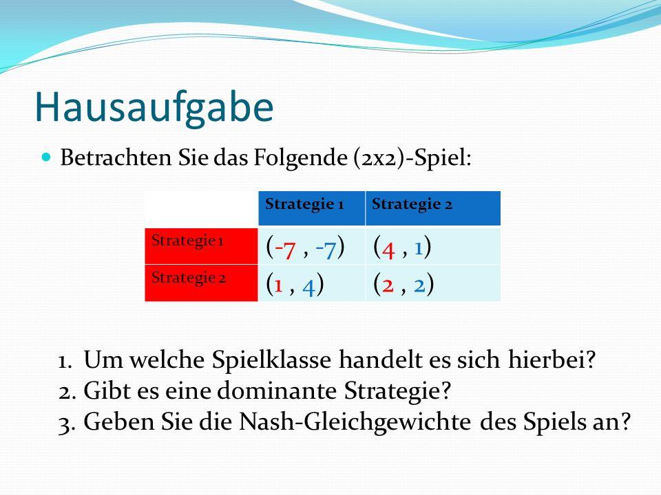 Hausaufgabe Betrachten Sie das Folgende (2x2)-Spiel: Strategie 1Strategie 2 Strategie 1 (-7, -7)(4, 1) Strategie 2 (1, 4)(2, 2) 1.Um welche Spielklasse handelt es sich hierbei.