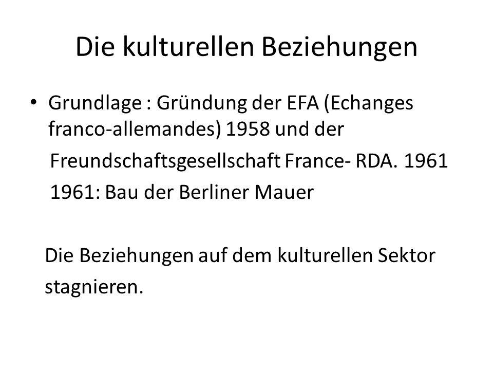Die kulturellen Beziehungen Grundlage : Gründung der EFA (Echanges franco-allemandes) 1958 und der Freundschaftsgesellschaft France- RDA.
