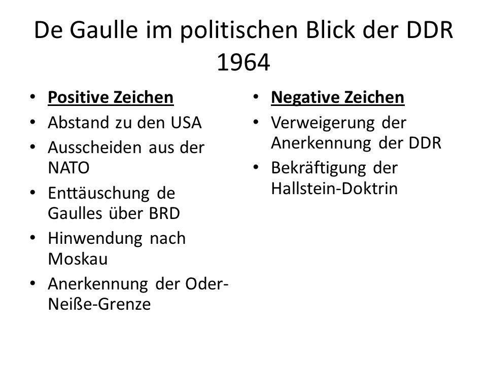 Positive Zeichen Abstand zu den USA Ausscheiden aus der NATO Enttäuschung de Gaulles über BRD Hinwendung nach Moskau Anerkennung der Oder- Neiße-Grenze Negative Zeichen Verweigerung der Anerkennung der DDR Bekräftigung der Hallstein-Doktrin De Gaulle im politischen Blick der DDR 1964