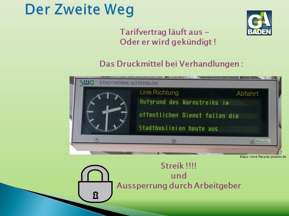 Das Druckmittel bei Verhandlungen : Tarifvertrag läuft aus - Oder er wird gekündigt ! Streik !!!! und Aussperrung durch Arbeitgeber Klaus-Uwe Pacyna/p