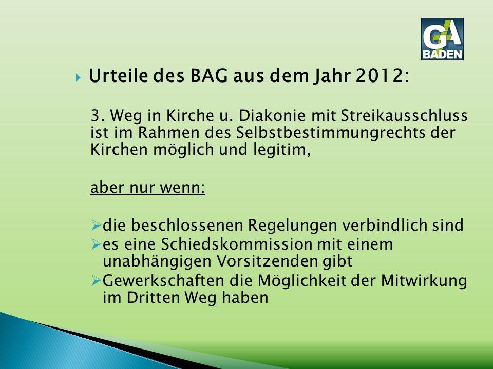  Urteile des BAG aus dem Jahr 2012: 3. Weg in Kirche u. Diakonie mit Streikausschluss ist im Rahmen des Selbstbestimmungrechts der Kirchen möglich un