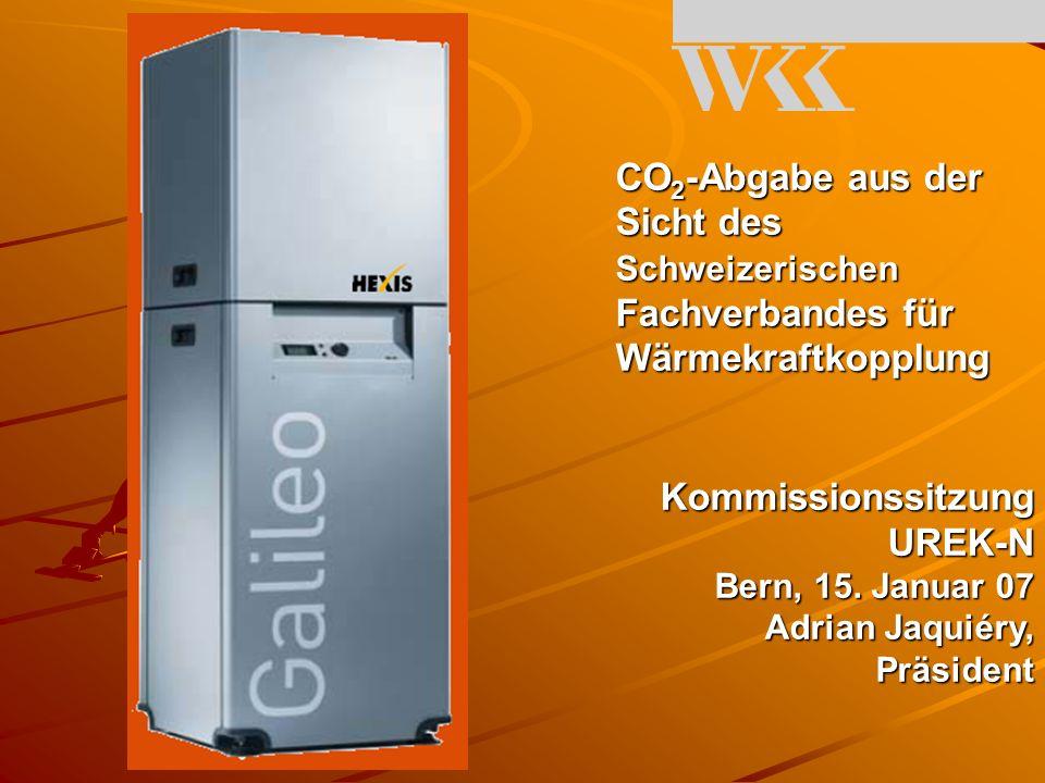CO 2 -Abgabe aus der Sicht des Schweizerischen Fachverbandes für Wärmekraftkopplung Kommissionssitzung UREK-N Bern, 15.
