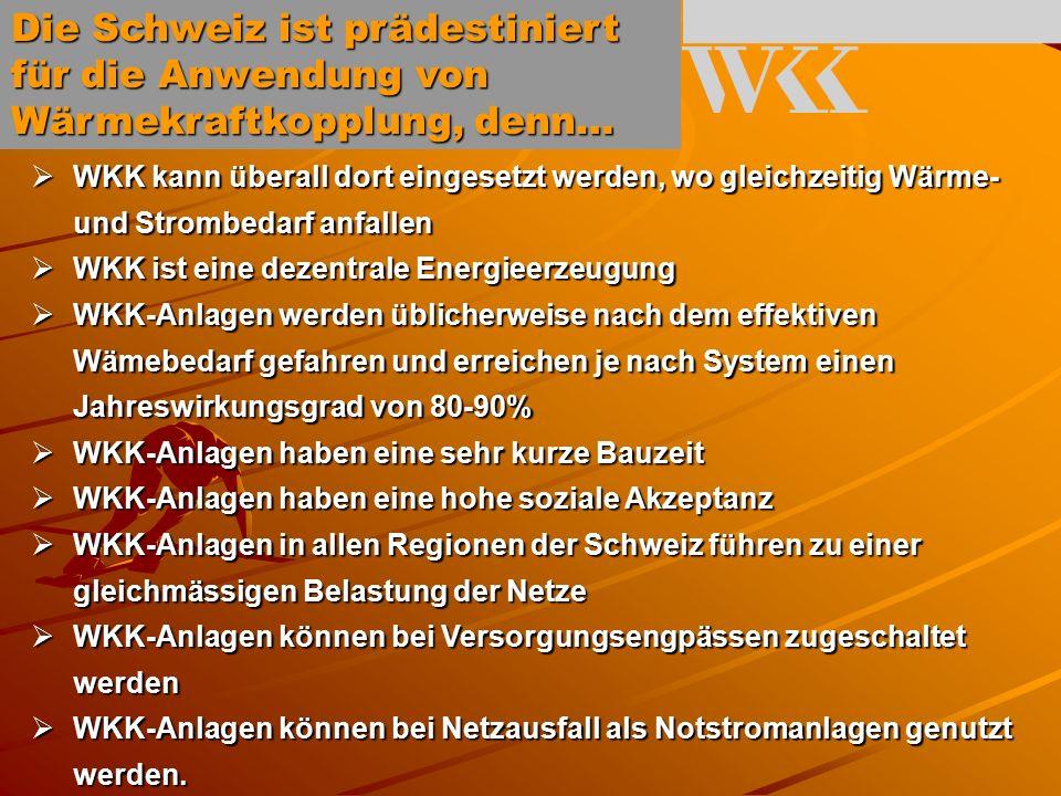  WKK kann überall dort eingesetzt werden, wo gleichzeitig Wärme- und Strombedarf anfallen  WKK ist eine dezentrale Energieerzeugung  WKK-Anlagen werden üblicherweise nach dem effektiven Wämebedarf gefahren und erreichen je nach System einen Jahreswirkungsgrad von 80-90%  WKK-Anlagen haben eine sehr kurze Bauzeit  WKK-Anlagen haben eine hohe soziale Akzeptanz  WKK-Anlagen in allen Regionen der Schweiz führen zu einer gleichmässigen Belastung der Netze  WKK-Anlagen können bei Versorgungsengpässen zugeschaltet werden  WKK-Anlagen können bei Netzausfall als Notstromanlagen genutzt werden.
