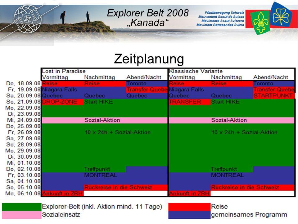 "Zeitplanung Explorer Belt 2008 ""Kanada"