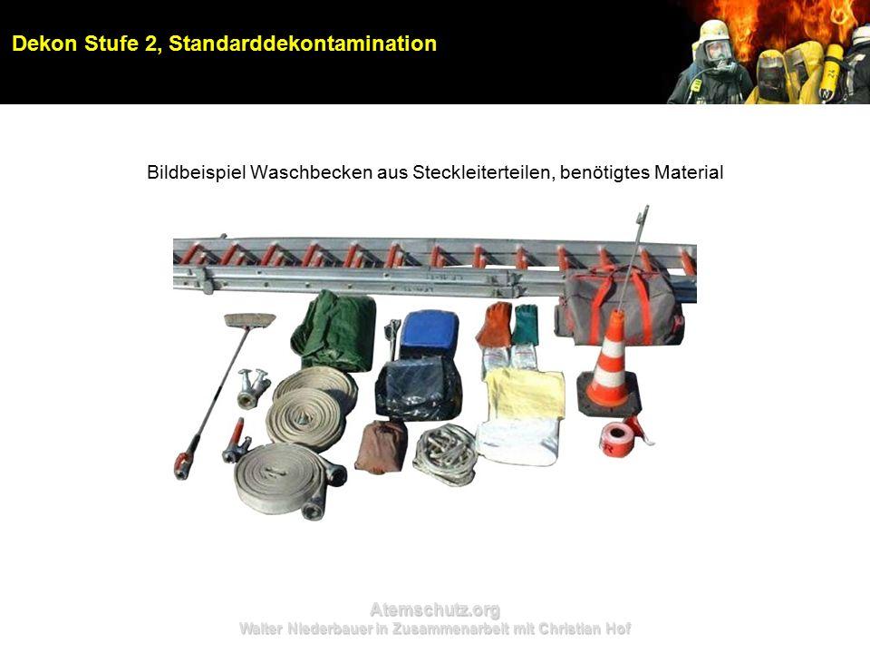 Atemschutz.org Walter Niederbauer in Zusammenarbeit mit Christian Hof Dekon Stufe 2, Standarddekontamination Bildbeispiel Waschbecken aus Steckleiterteilen, benötigtes Material