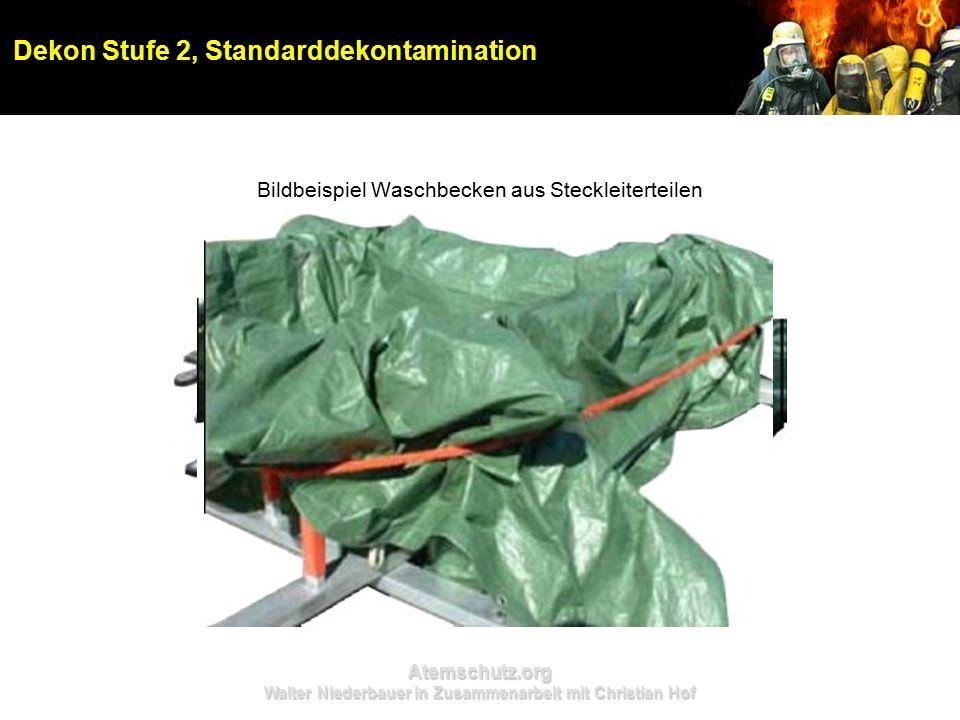 Atemschutz.org Walter Niederbauer in Zusammenarbeit mit Christian Hof Dekon Stufe 2, Standarddekontamination Bildbeispiel Waschbecken aus Steckleiterteilen