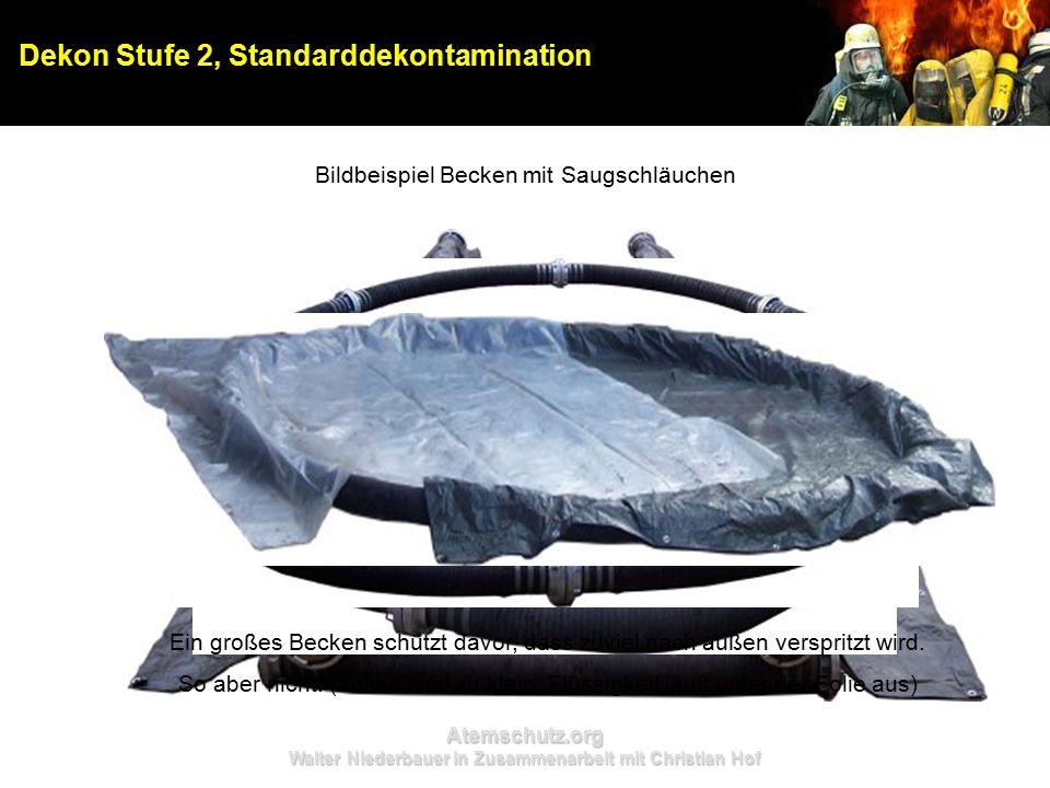 Atemschutz.org Walter Niederbauer in Zusammenarbeit mit Christian Hof Dekon Stufe 2, Standarddekontamination Bildbeispiel Becken mit Saugschläuchen Ein großes Becken schützt davor, dass zuviel nach außen verspritzt wird.